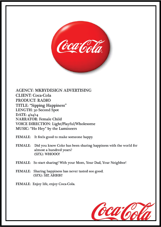Multimedia Campaign Radio Script for Coke - all logos and copy used for edu. purposes only