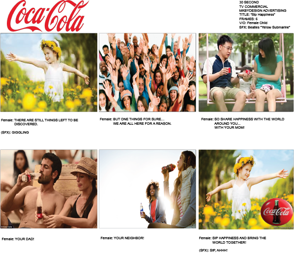 Multimedia Campaign - TV Storyboard for Coke - all logos and copy were used for edu. purposes only