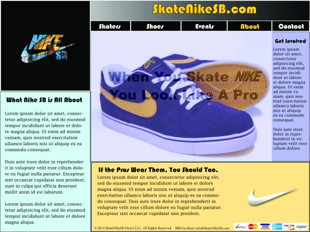 Website Creation for Nike Sb Skate Shoes - all logos and copy used for edu. purposes only